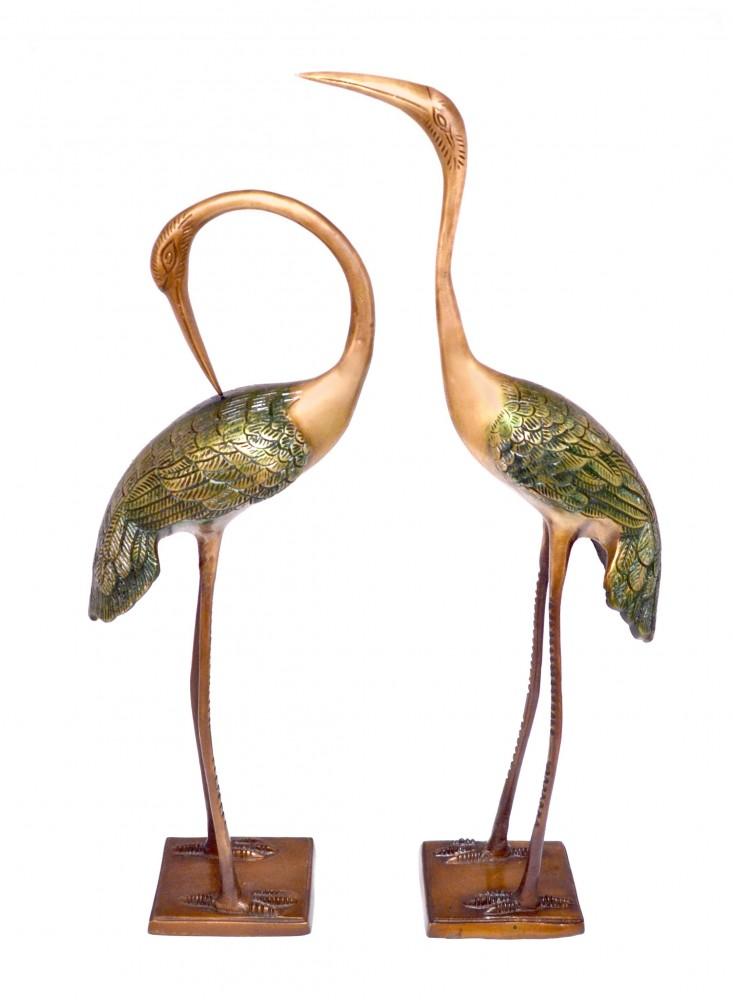 Two Moustaches Love Cranes Pair Brass Showpiece