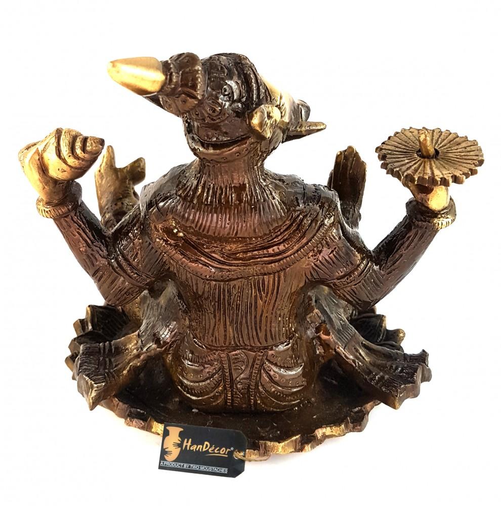 Brass Maha Ganpati on Chakra Statue