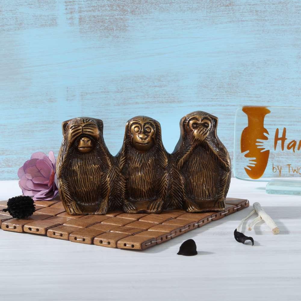 Three Monkeys of Mahatama Gandhi Showpiece