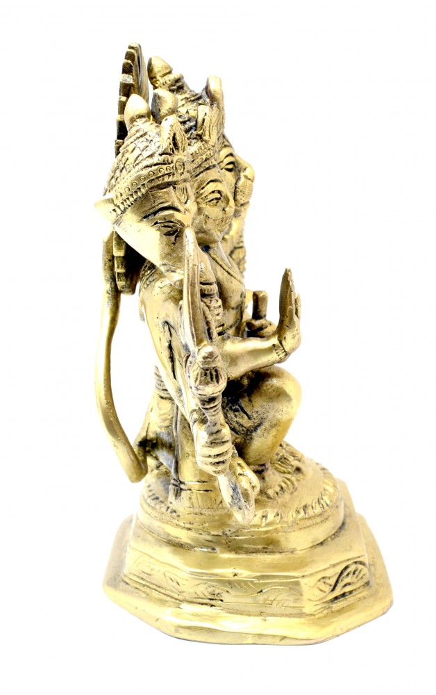 Seated Panchmukhi Hanuman Brass Statue