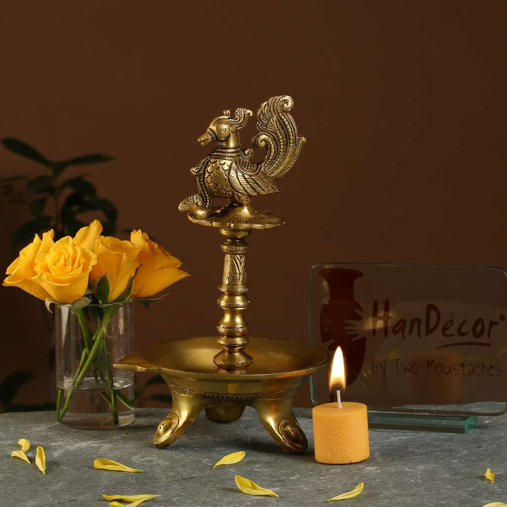 Peacock Oil Diya with Base