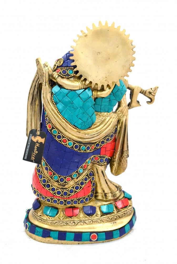 Brass Radha Krishna Gemstone Showpiece