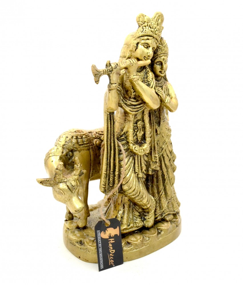 Brass Radha Krishna with Cow Statue