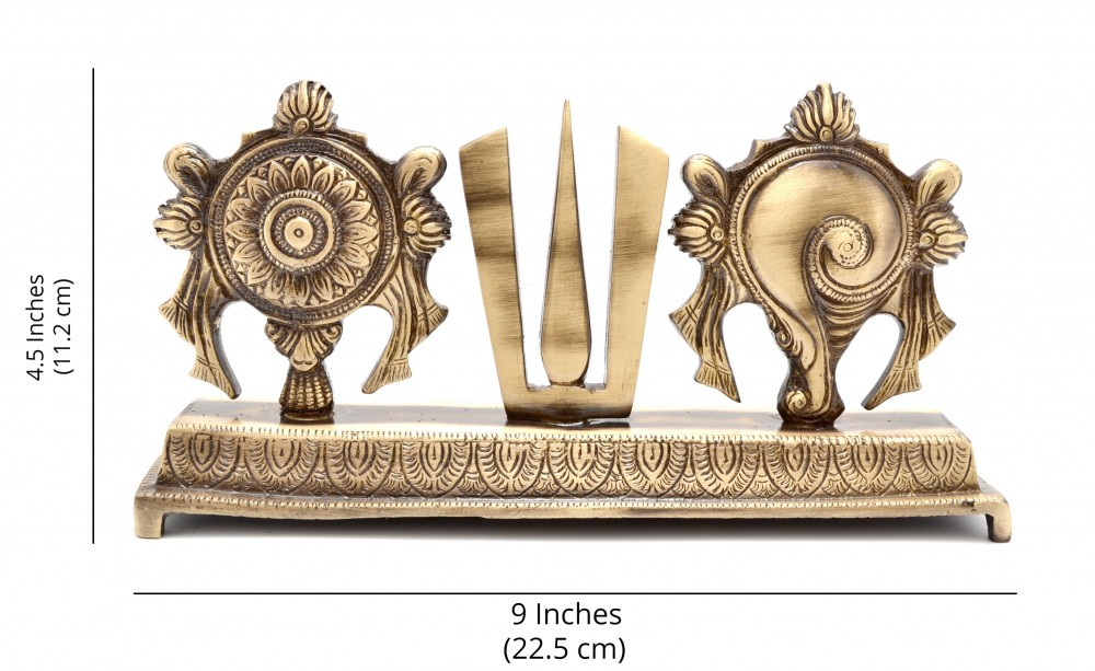 Two Moustaches Brass Shankh Chakra Namah Showpiece