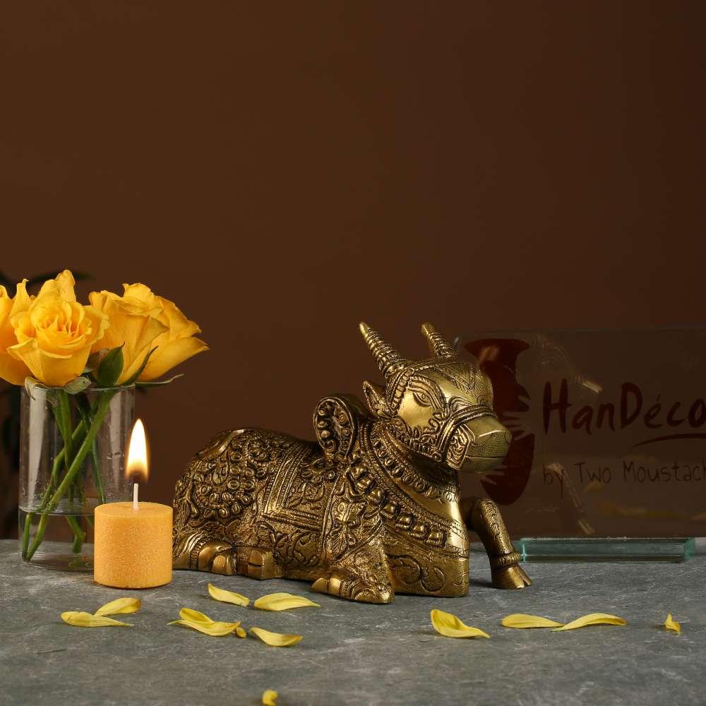 Brass Sitting Nandi Cow Statue