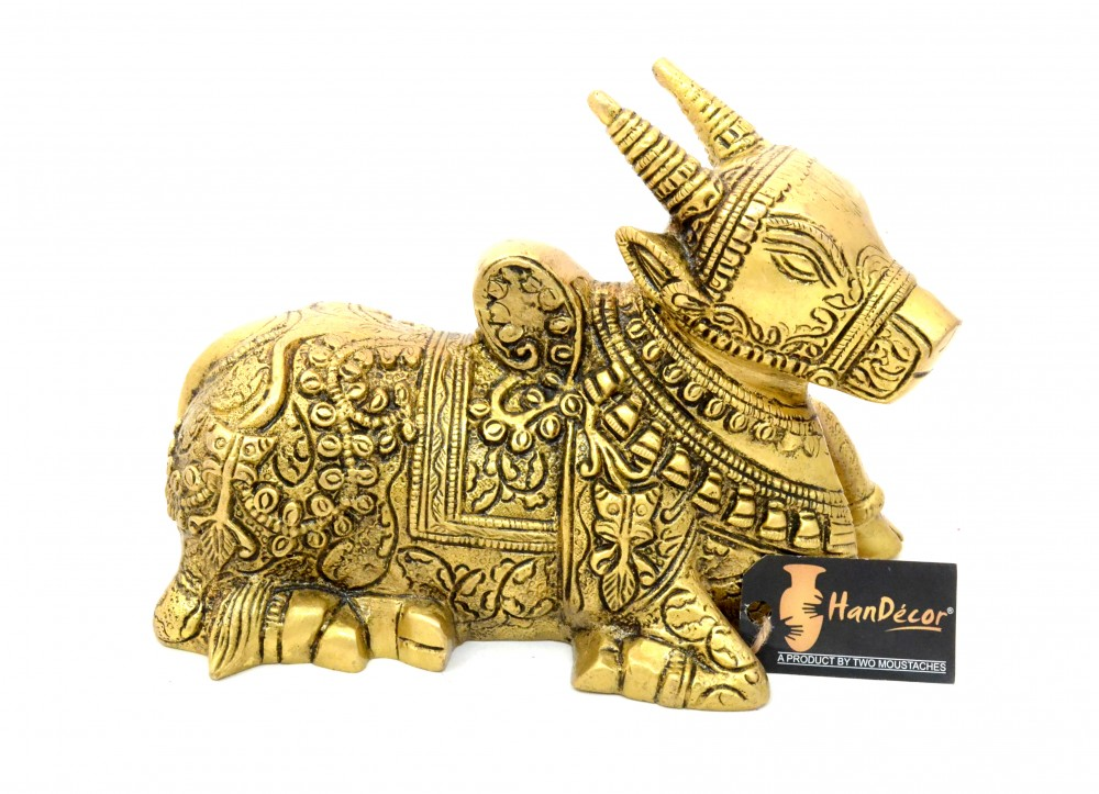 Brass Sitting Nandi Cow Statue