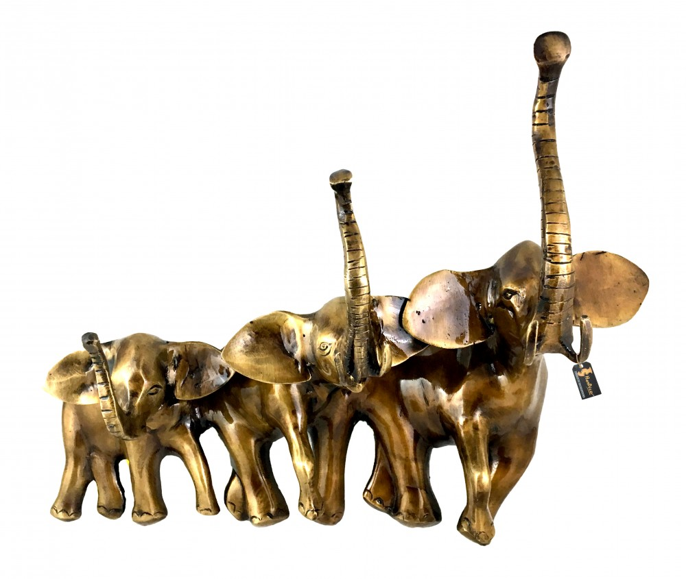 Brass Elephant Family Wall Hanging Decorative