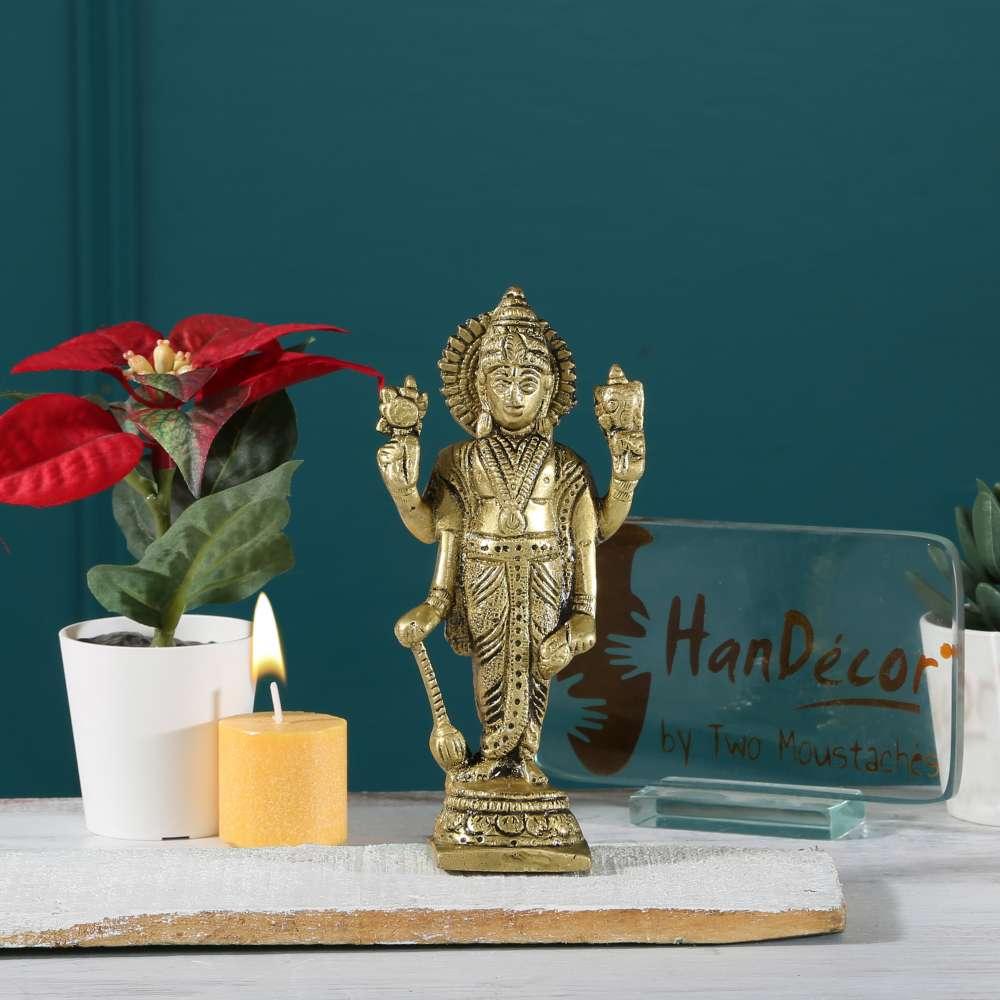 Standing Lord Vishnu Holding Club Brass Statue