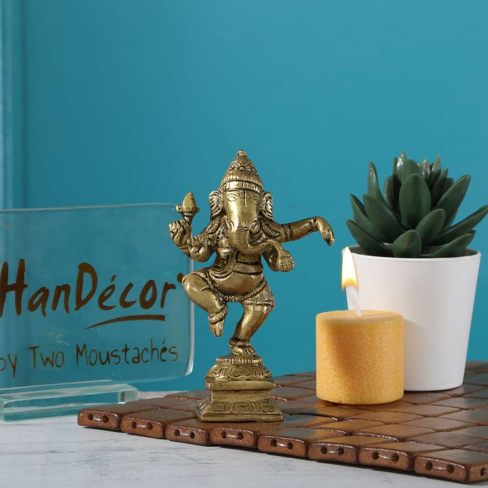 Two Moustaches Brass Dancing Ganesha Idol Antique Yellow | Home Decor |