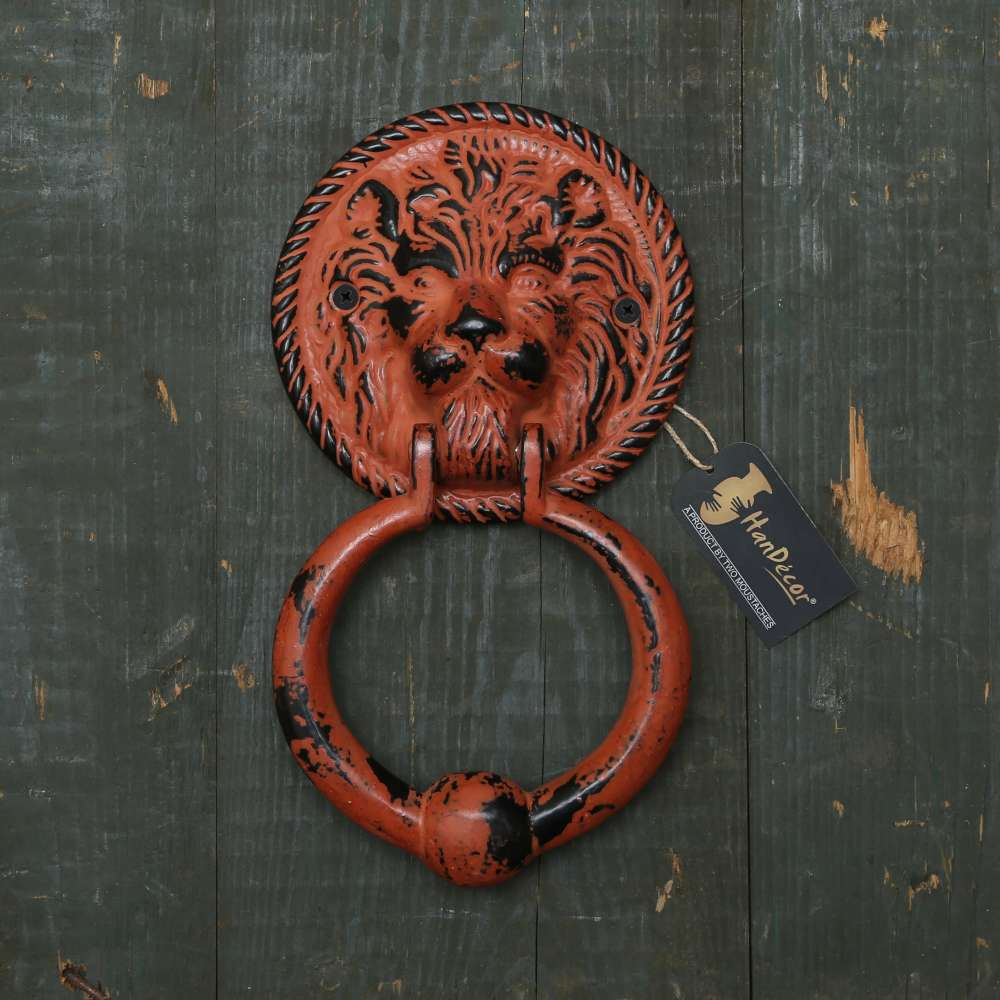 Lion Face Door Knocker - Rustic Orange