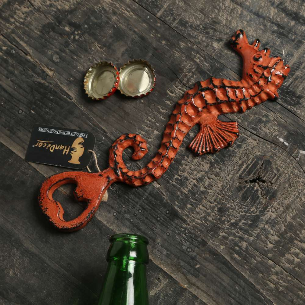 Vintage Sea Horse Design Bottle Opener - Rustic Orange