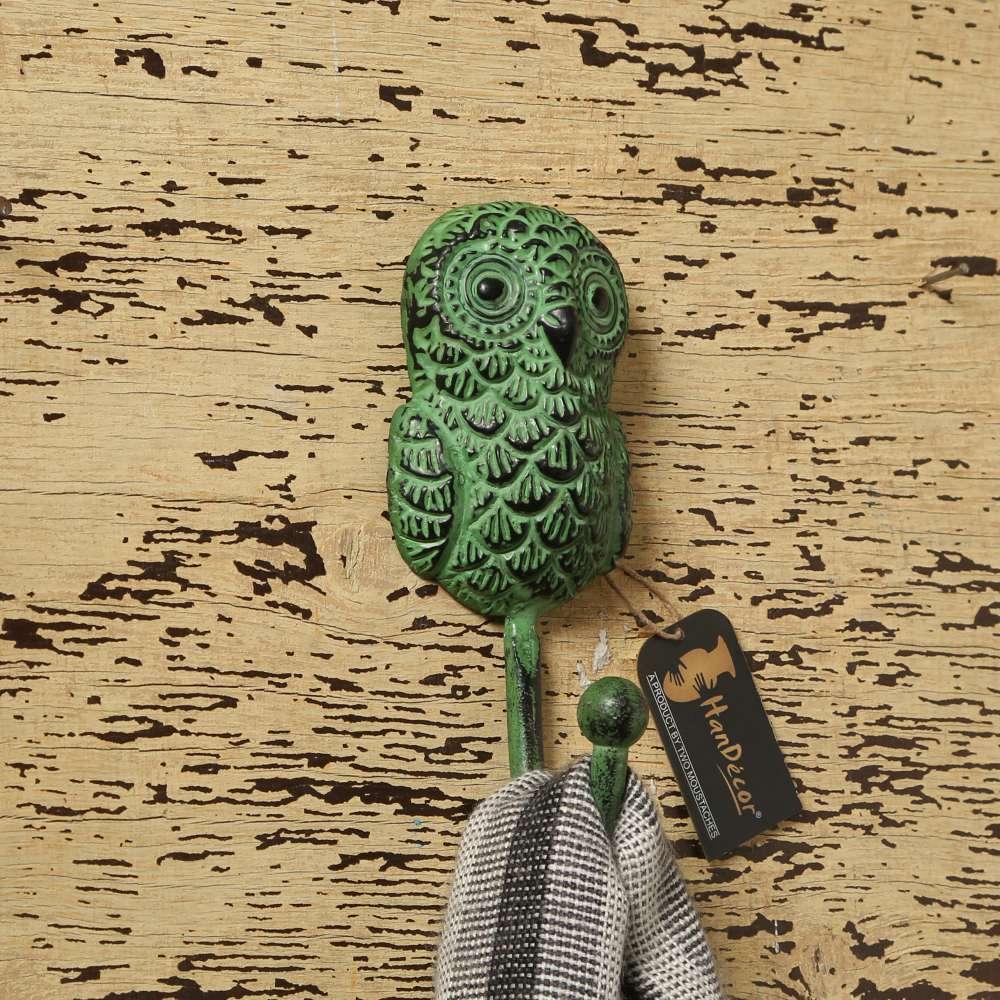 Rustic Owl Design Key Hook - Teal Green