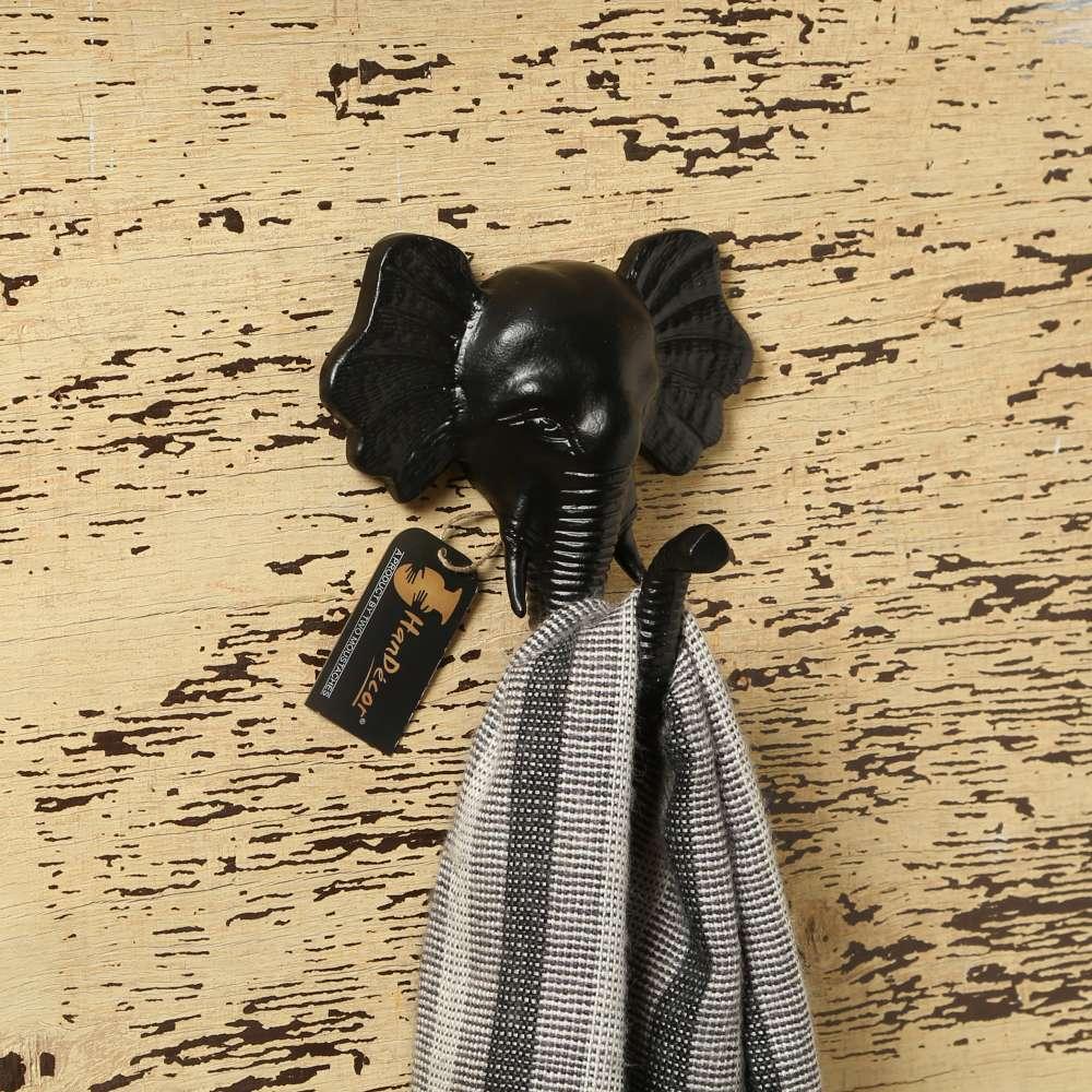 Metal Standing Elephant Shape Single Wall Figurine Hook - Black