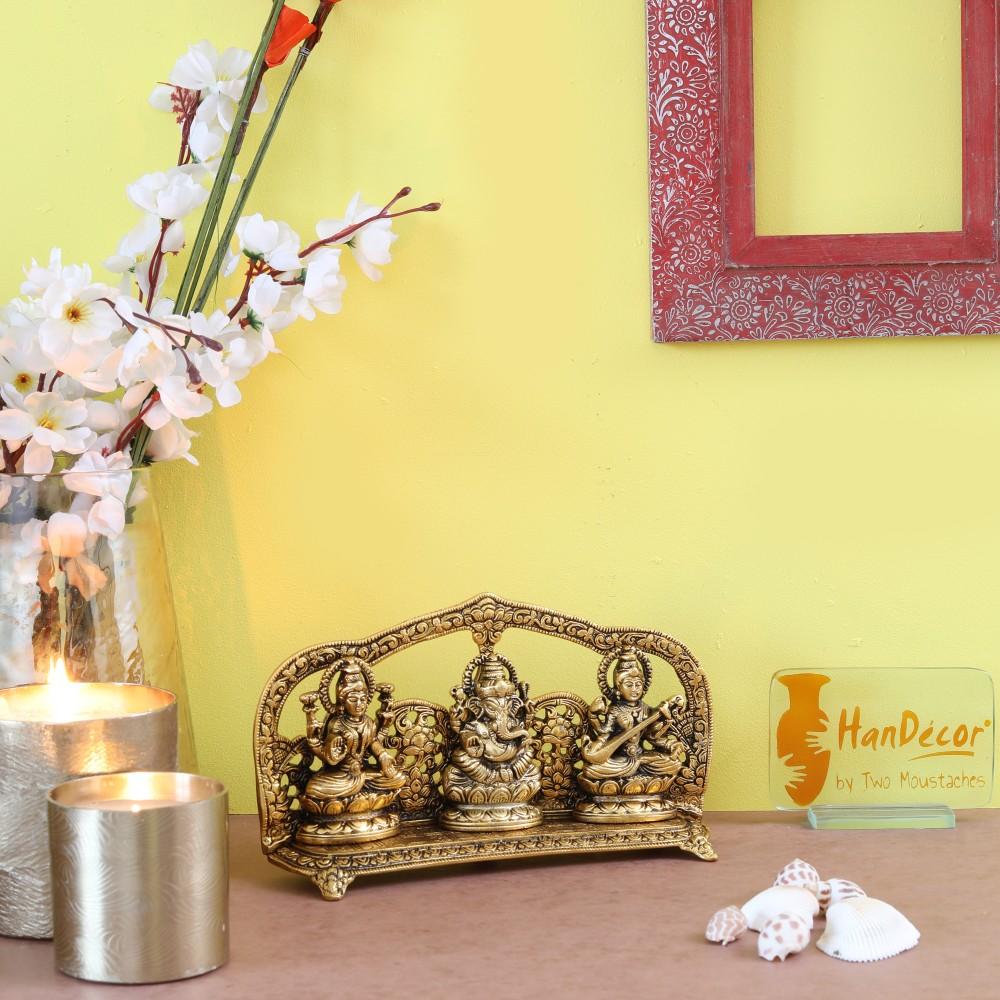 Laxmi Ganesha Saraswati Golden Idol