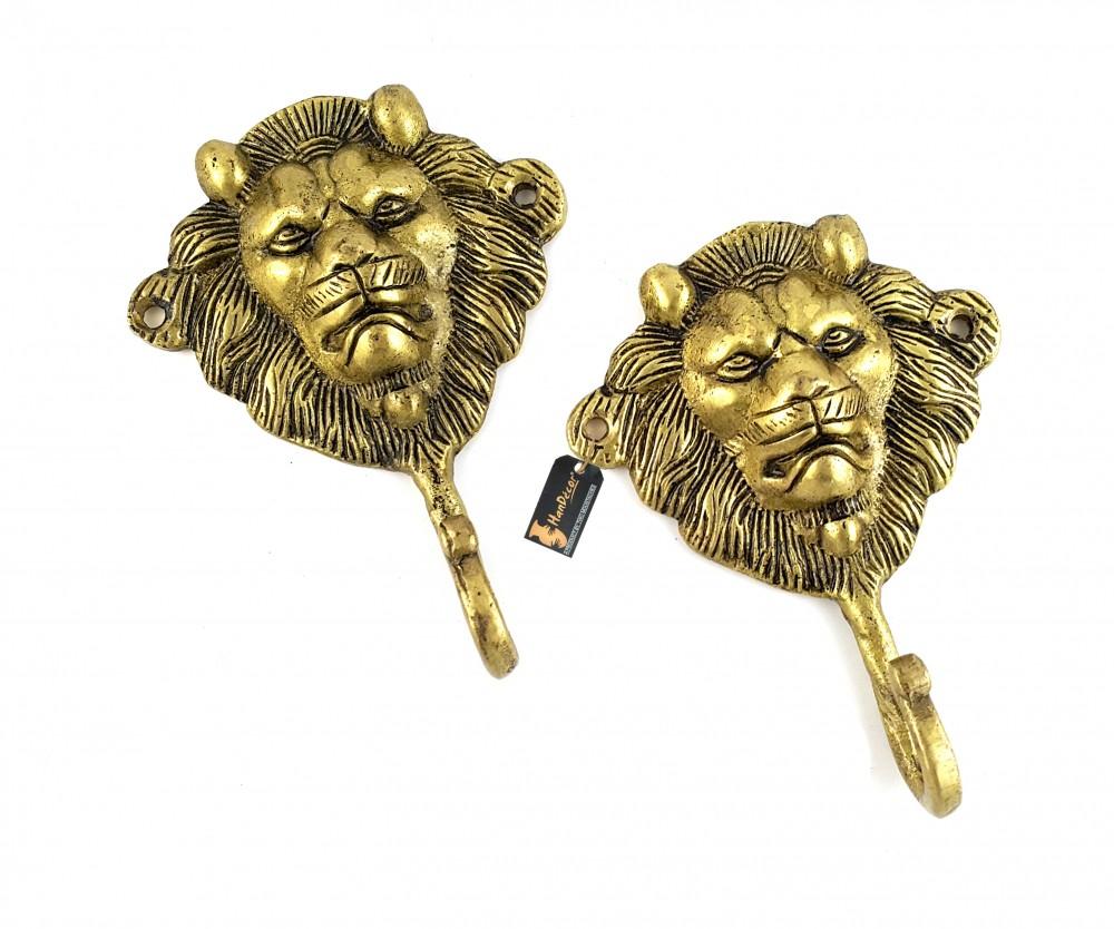 Lion Face Brass Key Hook/Holder - Set of 2