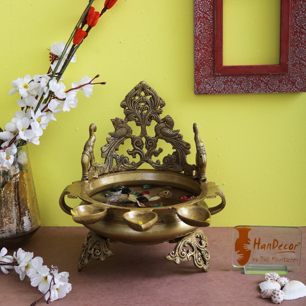 Elephant Design 3 Wick Brass Urli Showpiece
