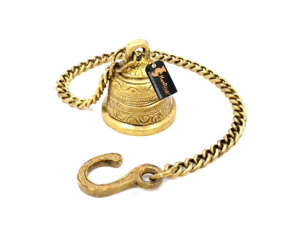 Ethnic Indian Handcrafted Brass Temple Bell with Chain