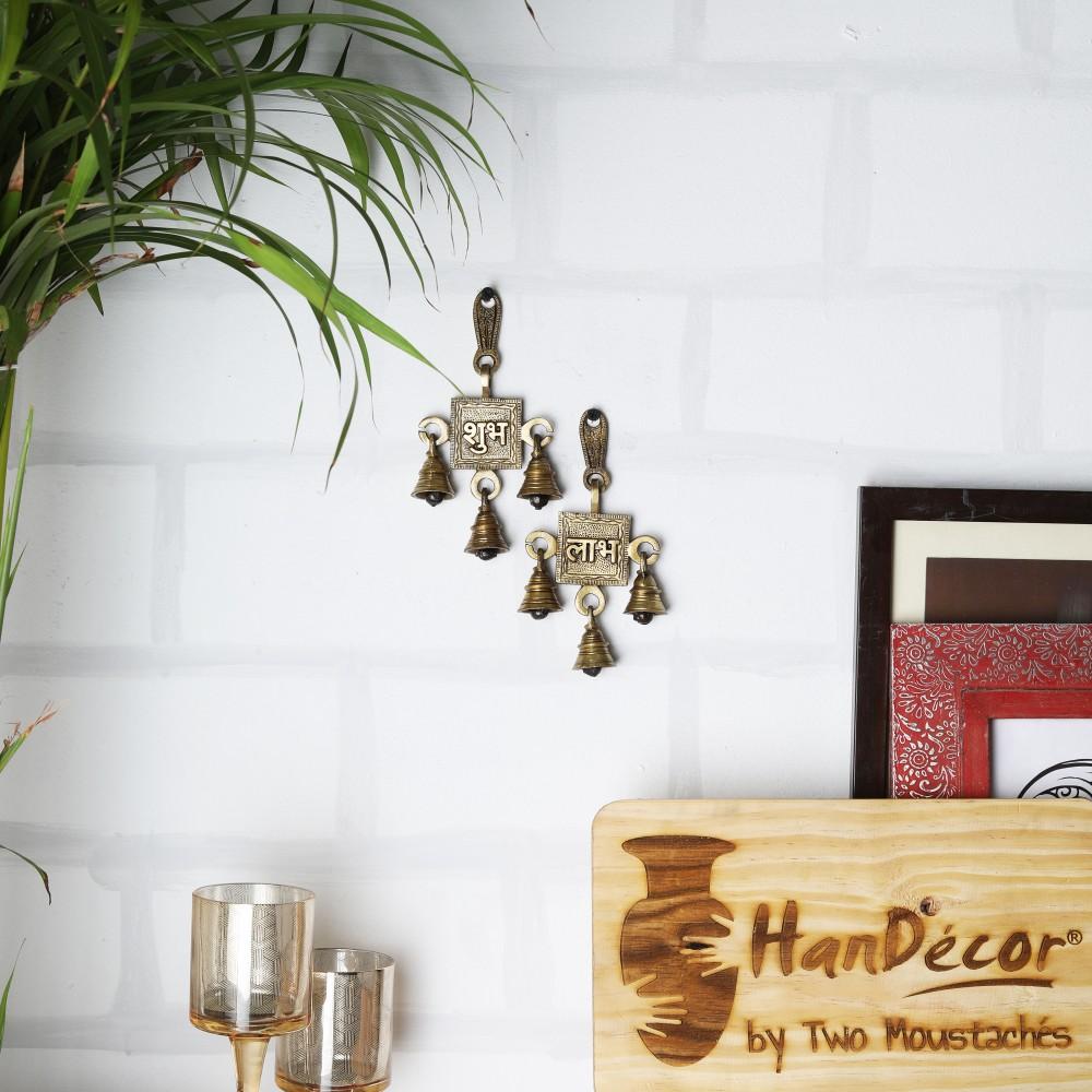 Brass Shubh Labh Hanging Bells Set