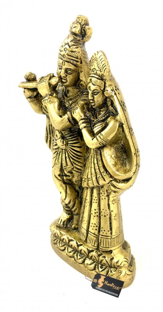 Brass Radha Krishna Pair Idol Antique Yellow