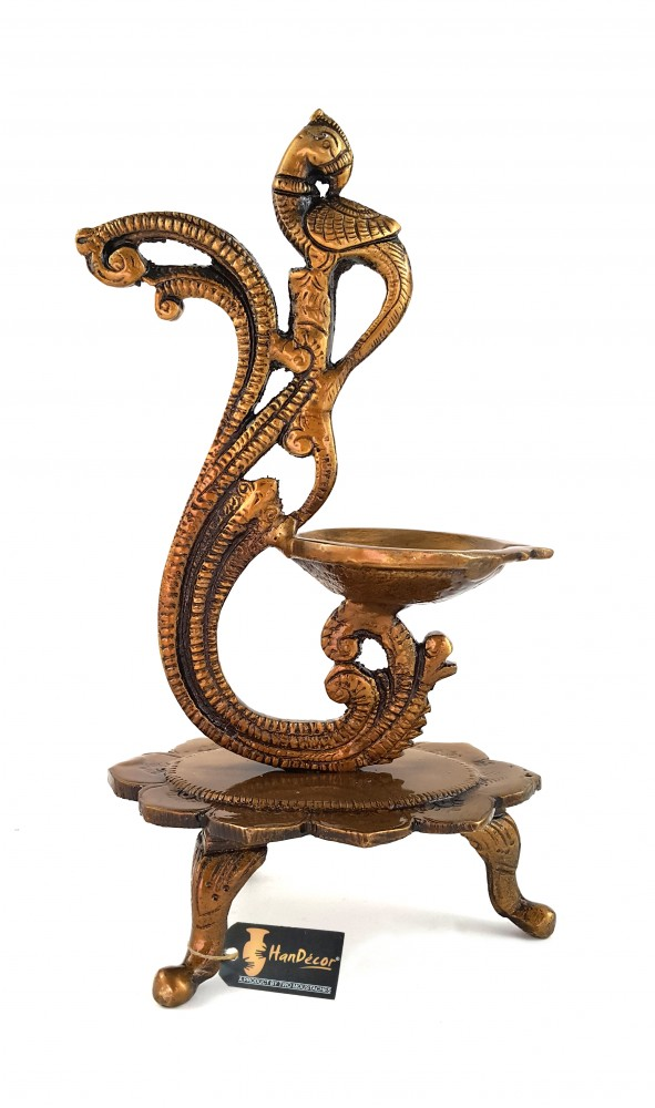 Curved Peacock Design Brass Diya