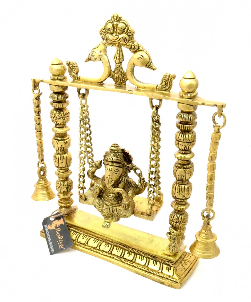 Ganesha on Jhoola Swing with Bells Premium Brass Showpiece