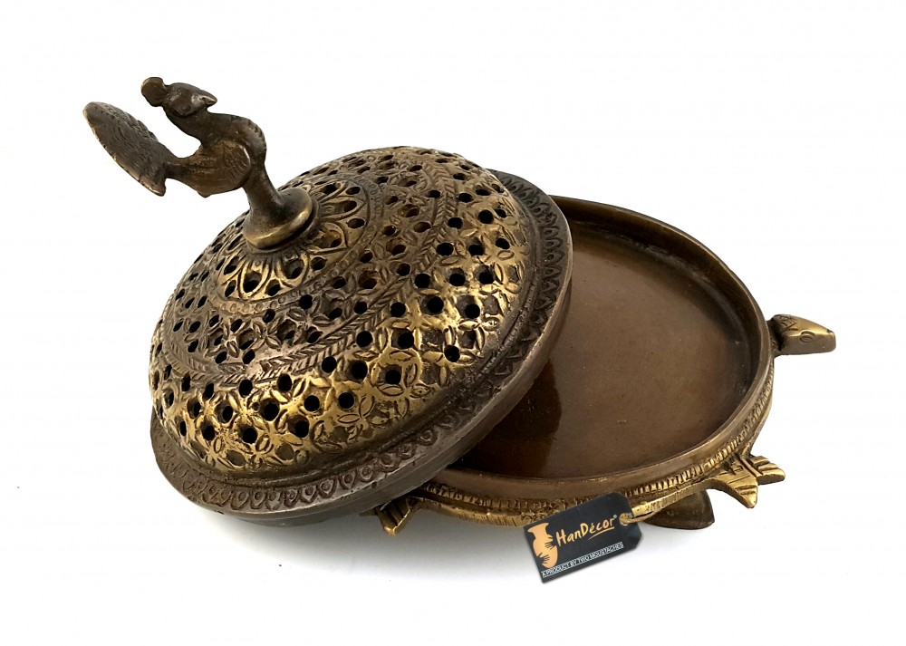 Handcrafted Brass Peacock Incense Burner On a 3 Legged Tortoise Stand - Royal Brown