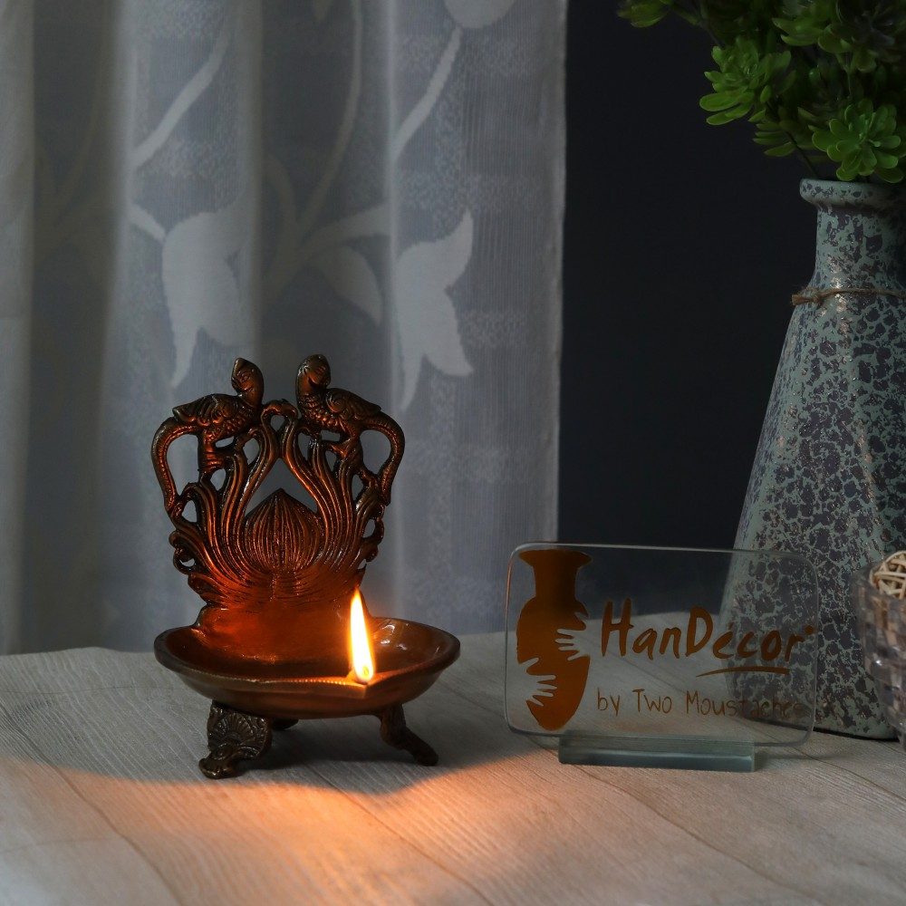 Brass Twin Peacock Over Carving Table Diya