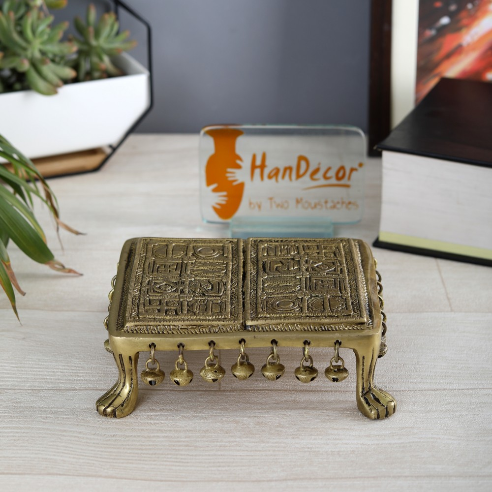 Brass Swastika Engraved 7 Inches Chowki with Bells