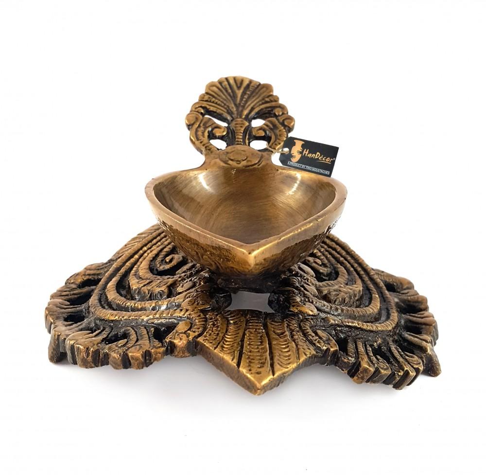 Ethnic Indian Design Carved Brass Diya