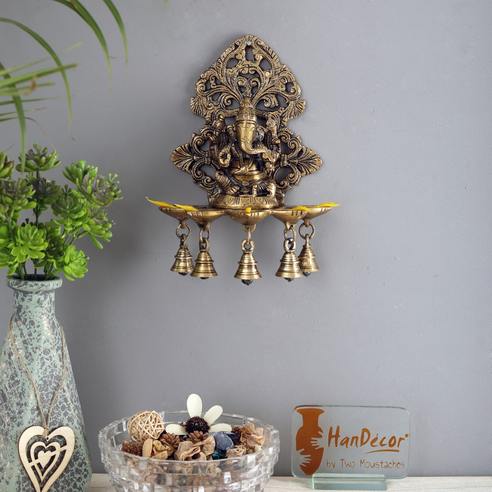 Brass Panchdeep Ganesha Hanging with Bells