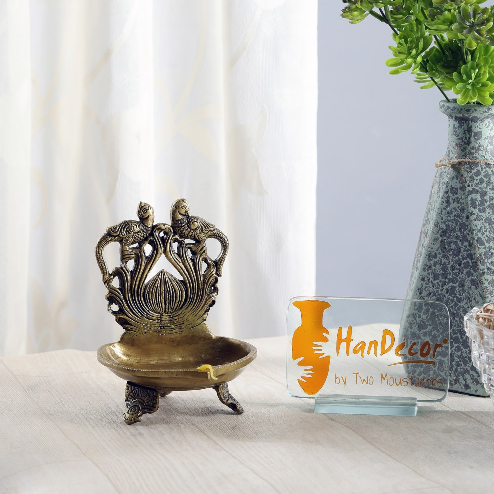 Brass Twin Peacock Over Carving Table Diya - Antique Yellow