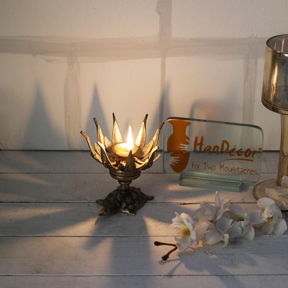 Lotus Engraved Ganesha Over Tortoise Candle Brass Oil Lamp Diya