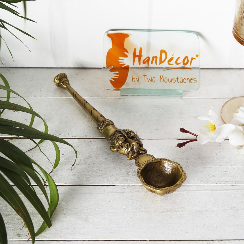 Yali Design Brass Pooja Spoon