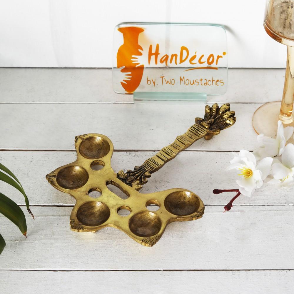 Brass Panchdeep Aarti Spoon