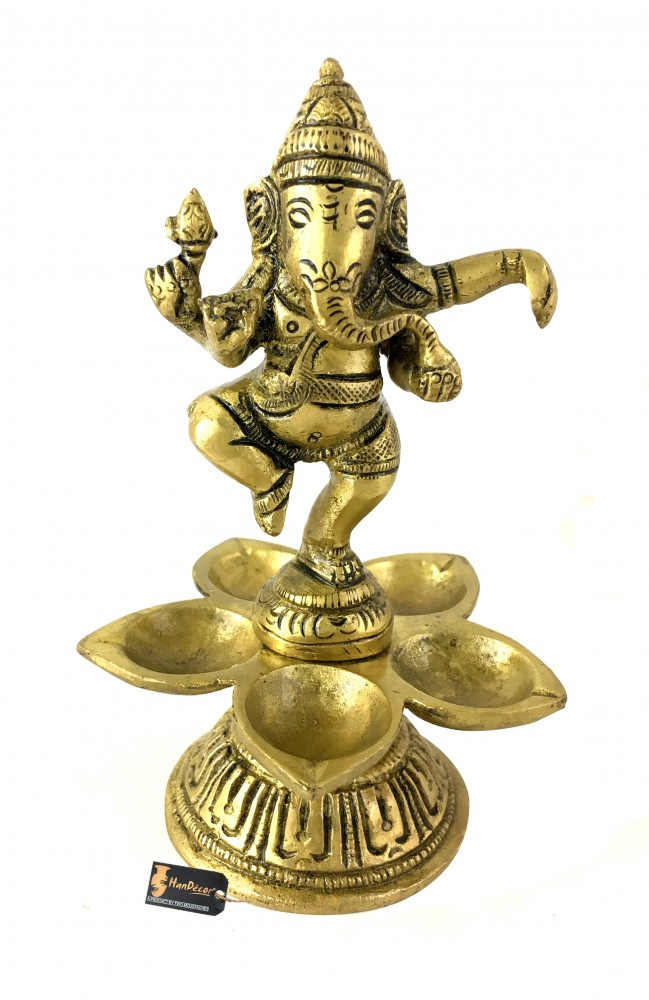 Ganesha Design Five Oil Wick Brass Diya
