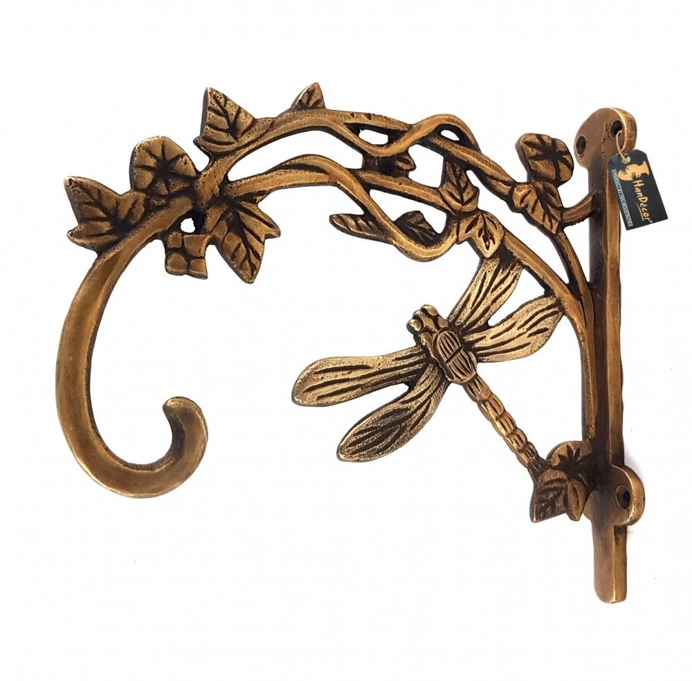 Brass Dragon Fly Style Handmade Brass Wall Lantern Diya Hanger - Royal Brown
