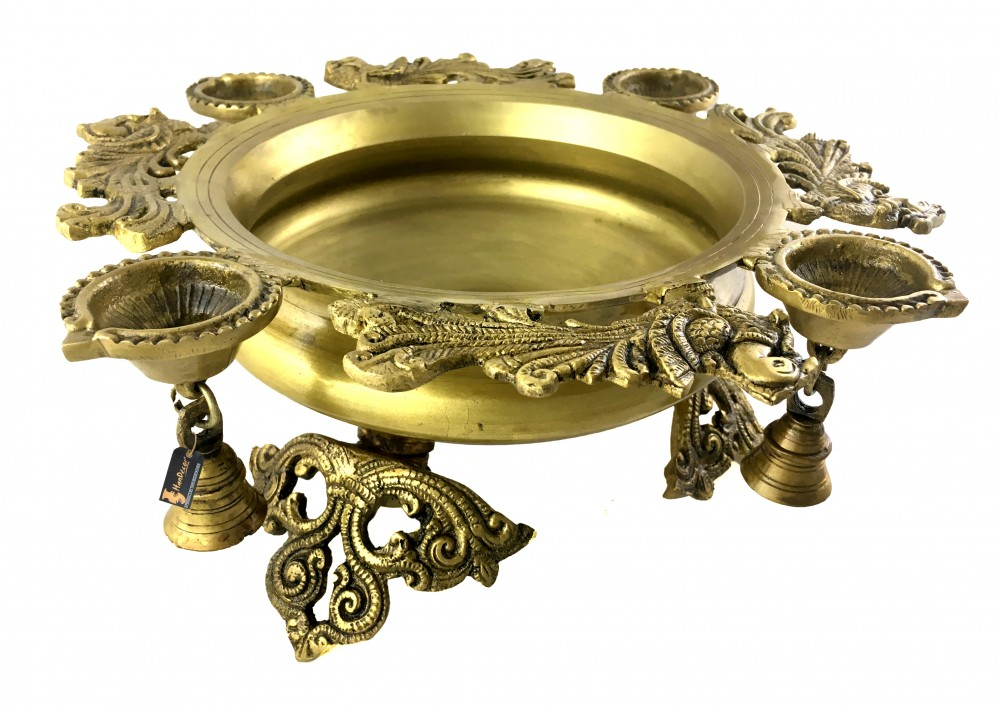 Peacock Design Brass Urli with Four Diyas