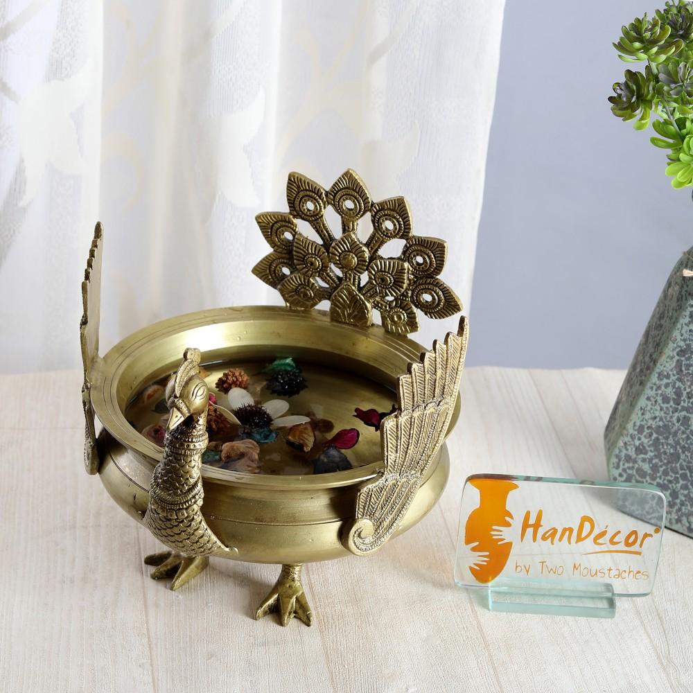 Ethnic Winged Peacock Design Brass Urli