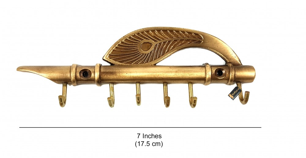 Lord Krishna's Flute and Peacock Quills Brass Key Holder with 6 Hooks