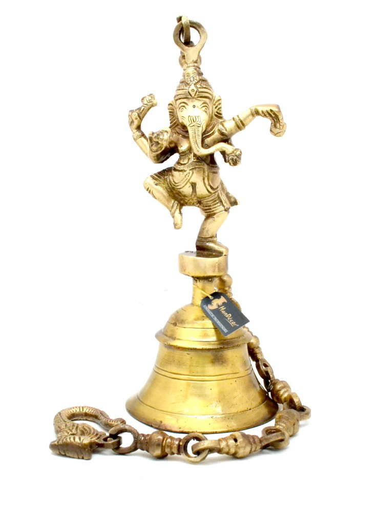 Vintage Brass Temple Bell With Dancing Ganesha On Chain