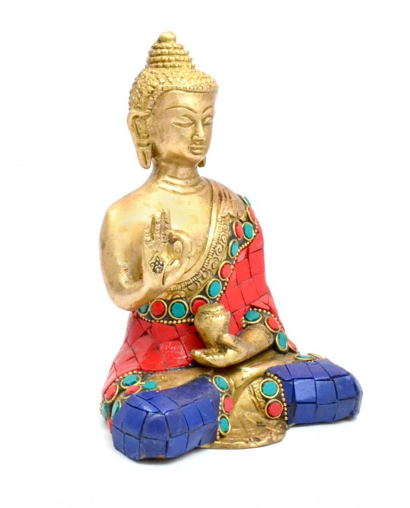Divine Buddha Meditation Gemstone Work Showpiece