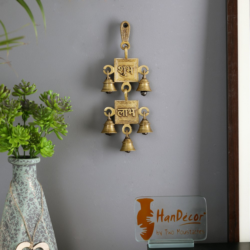 Two Moustaches Brass Shubh Labh Hanging Bells Showpiece | Home Decor |