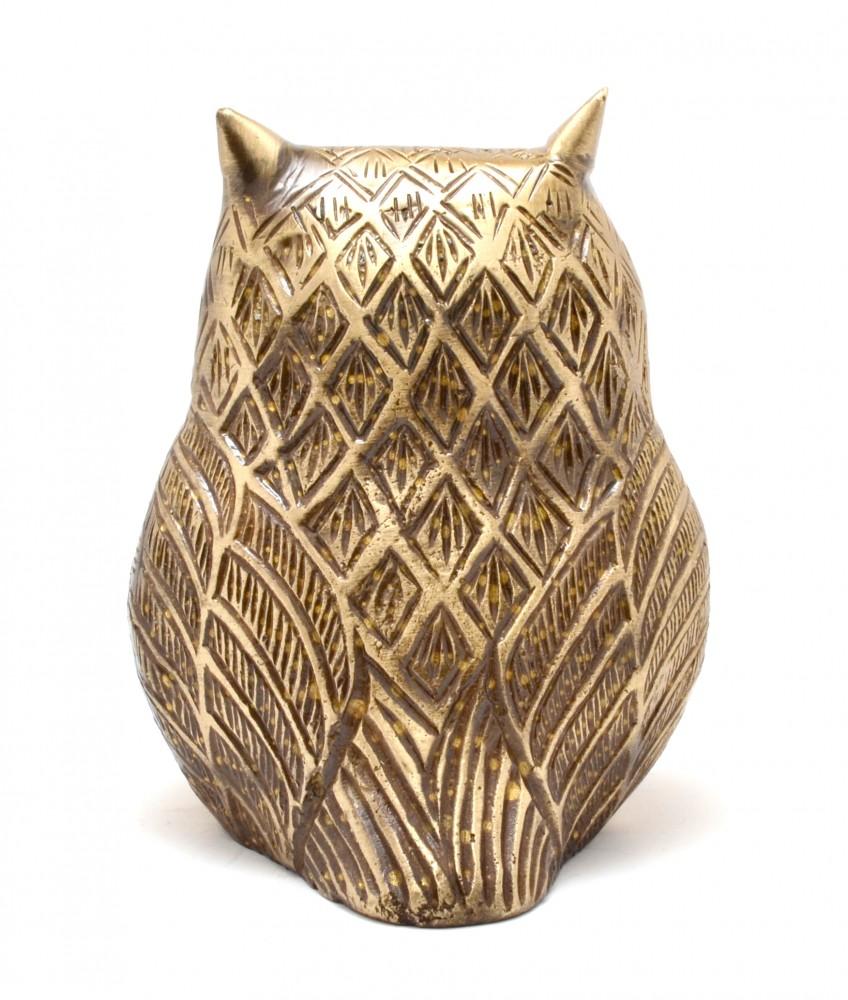 Two Moustaches Vintage Brass Owl Showpiece | Home Decor |