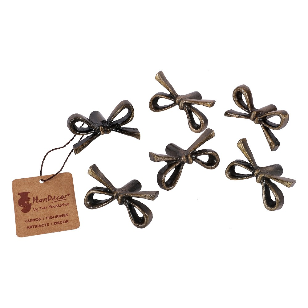 Tie Knot Design Antique Brass Finish Cast Iron Cabinet/Wardrobe Knobs (Standard Size) -Pack of 6