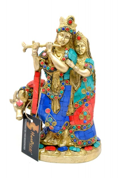 Radha Krishna with Cow Gemstone Brass Showpiece