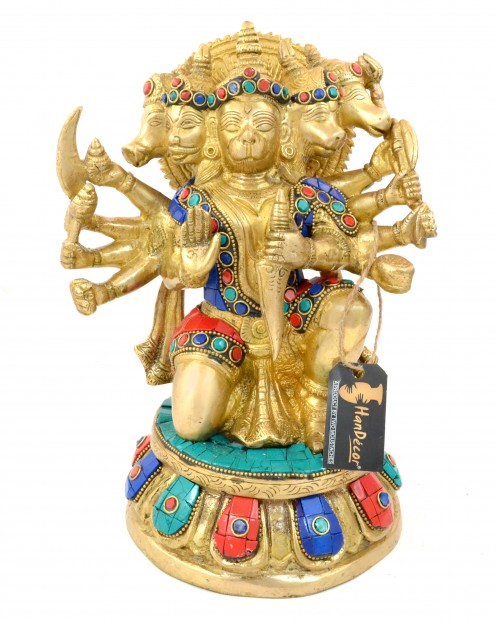 Panchmukhi Hanuman Gemstone Brass Showpiece