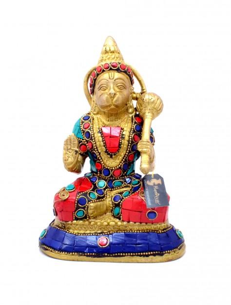 Hanuman Aashirwaad Mudra Gemstone Statue