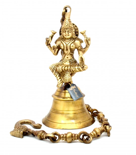 Vintage Brass Temple Bell with Laxmi On Chain