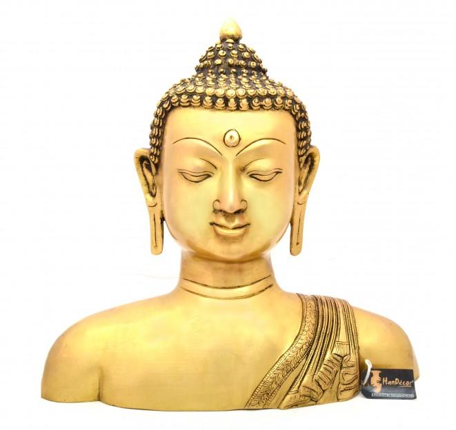 Brass Buddha Bust 14 Inches Showpiece