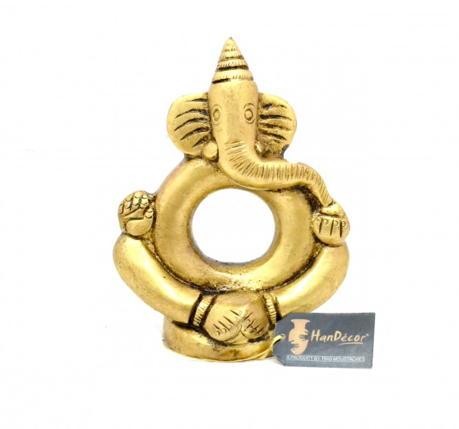 Ring Ganesha Antique Yellow Brass Showpiece
